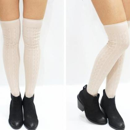 436e44b180d52 Simple Cable Knit Knee High Socks -Beige on Luulla