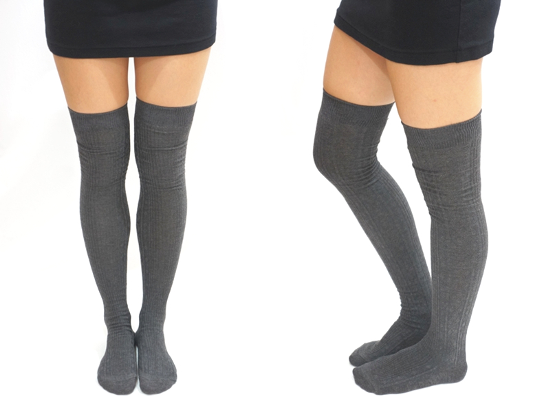 97898a58fc2ed Knit Thigh High Socks /Tights - Grey on Luulla