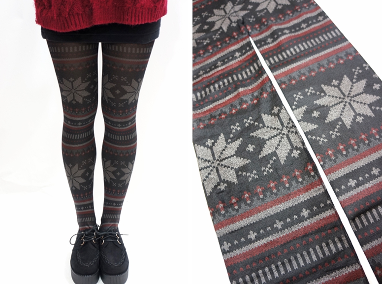 snowflake pattern holiday christmas tights leggings