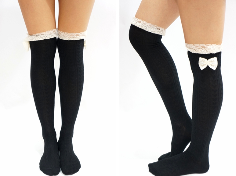 619ce459b5b Lace Bow Side Knee High Lace Socks - Black on Luulla