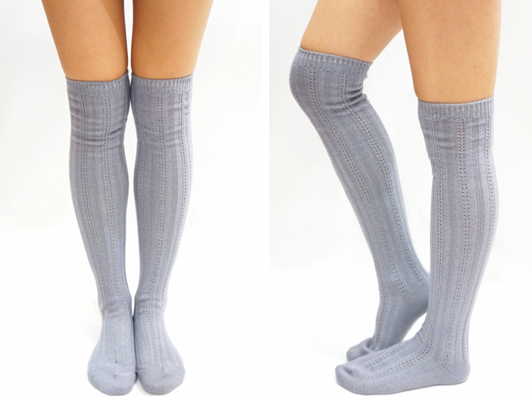 030c6068e8d2a Stripe Knit Knee High Socks - Light Grey on Luulla