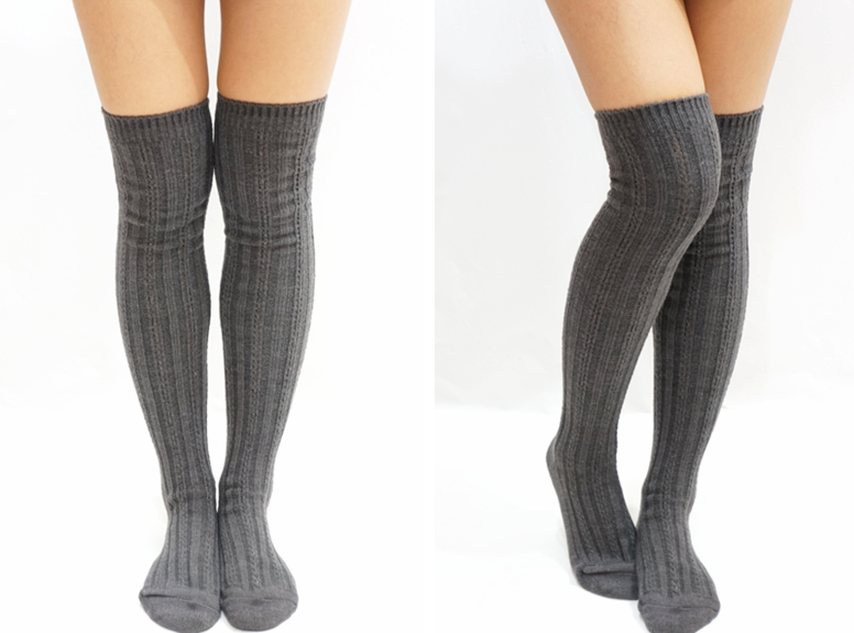 Stripe Knitted Knee High Knee Socks Dark Grey On Luulla