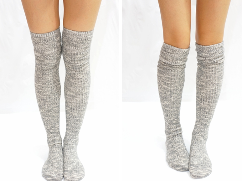 2567c0c8fe74c Grey Knit Knee High Socks Boot Socks on Luulla