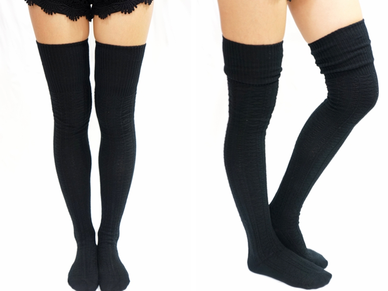 26dea85b667e0 Cozy Cable Knit Thigh High Socks Boot Socks -Black on Luulla