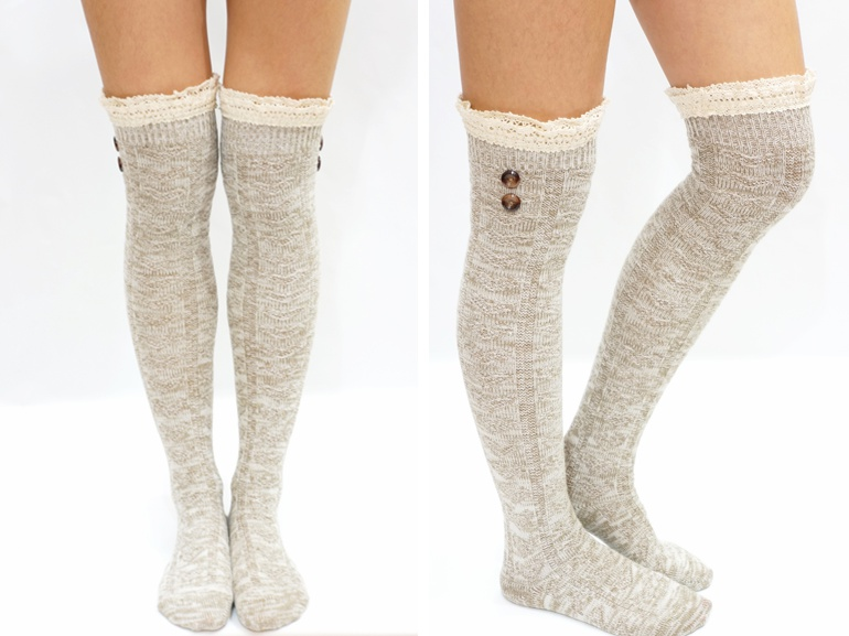 ee468624d08e5 Lace Trim Button Knit Over Knee Boot Socks on Luulla