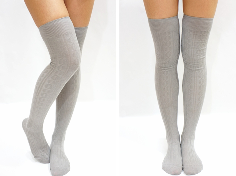 Simple Cable Knit Knee High Socks Light Grey On Luulla