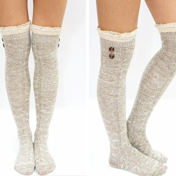 f9f25d06cd8 Lace Trim Button Knit Over Knee Boot Socks on Luulla