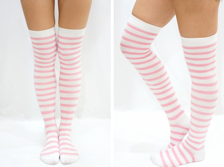e09b8e5e1841c Pastel Pink & White Striped Lolita Thigh High Socks on Luulla