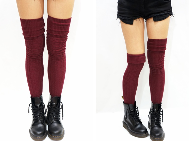 a7a9c60e68a5a Cozy Cable Knit Thigh High Socks Boot Socks -Burgundy on Luulla