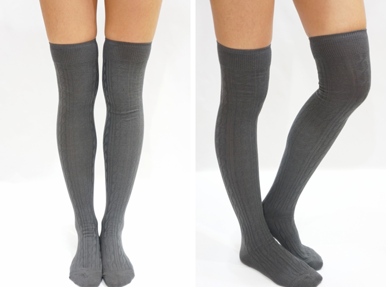 d78add5bd Simple Cable Knit Knee High Socks - Dark Grey on Luulla